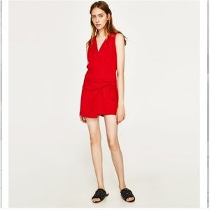 NWOT Zara Red Sleeveless Romper with Knots